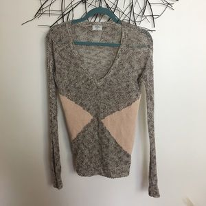 Open knit tan pink sweater. Wallace. Extra small